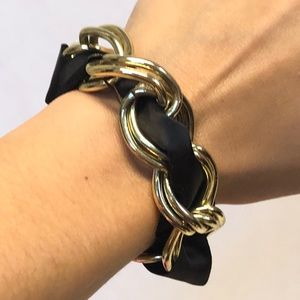 Jewelry - Gold chain bracelet with black ribbon